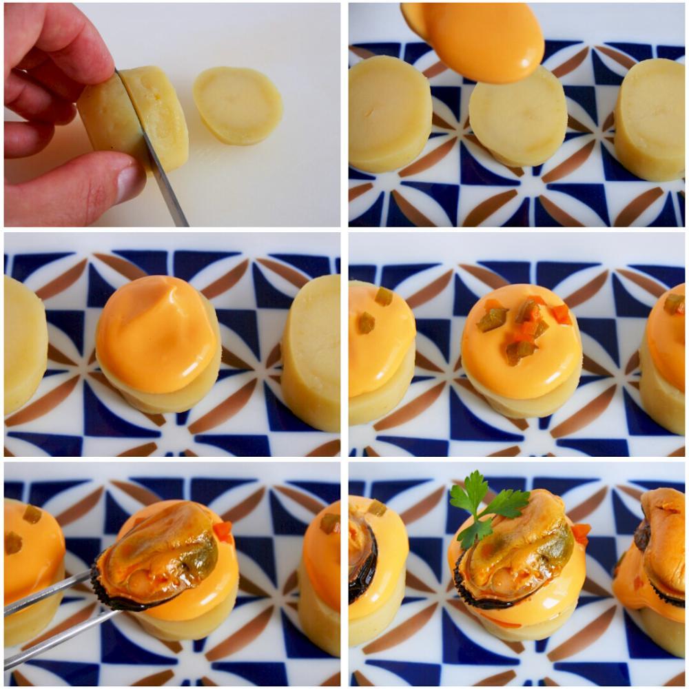 Pincho de mejillones y cachelos con mayonesa de su escabeche - Paso 5