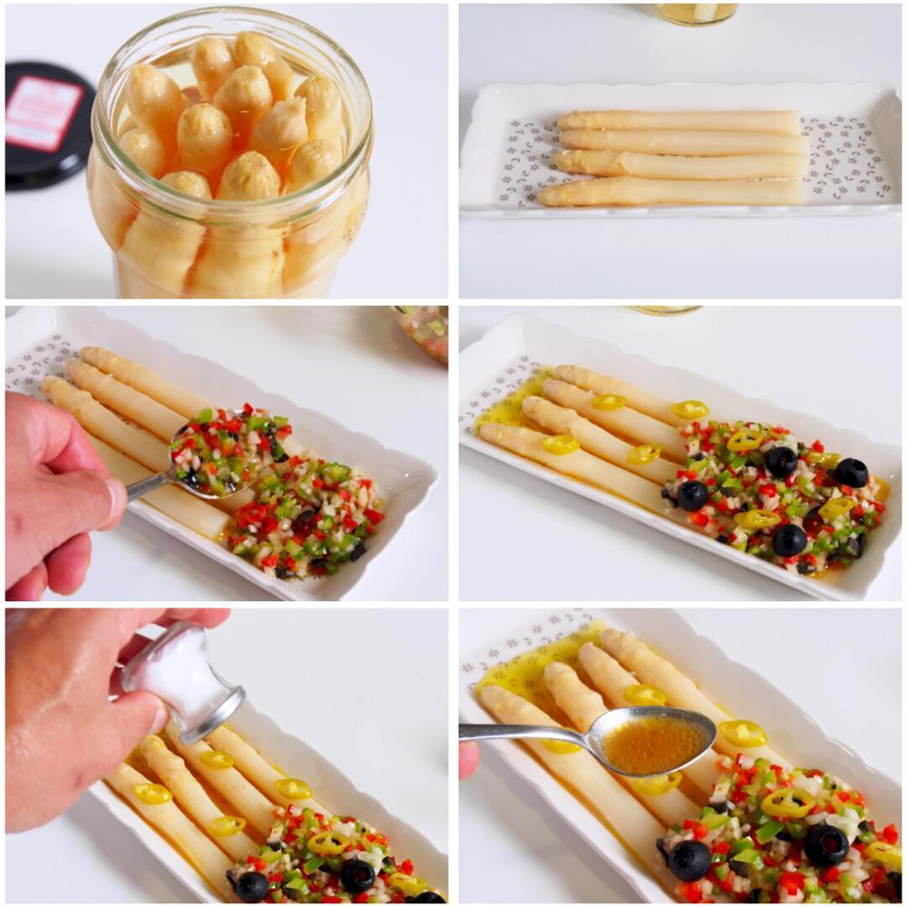 Espárragos blancos con vinagreta - Paso 5